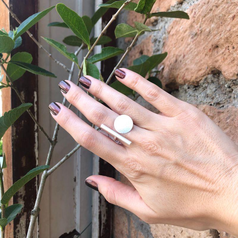 anillo matilda baño plata