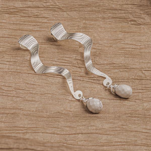Aretes Mamba piedra blanca